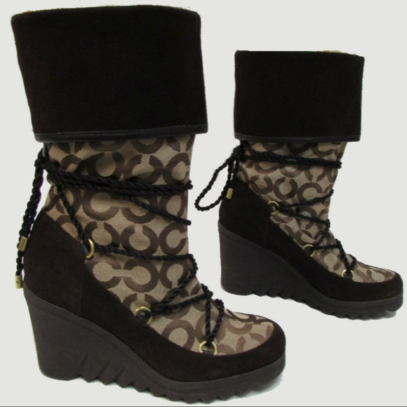 Coach Shoes - COACH Maisy Signature Op Art Wedge Boot